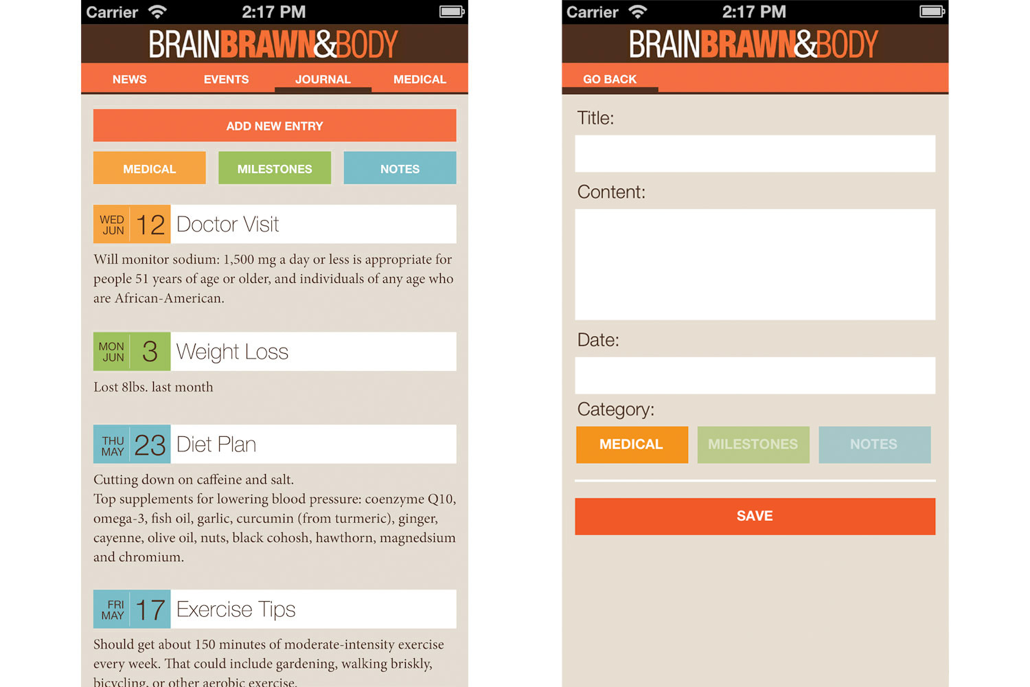 Brain Brawn and Body App Health Journal