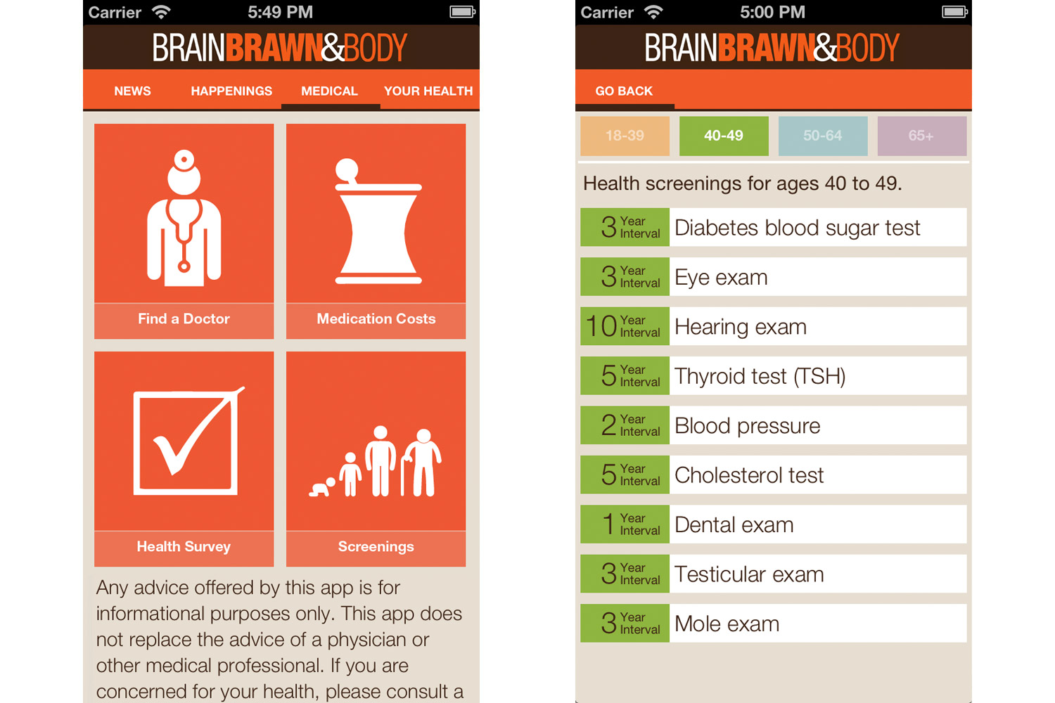Brain Brawn and Body App Health Screenings